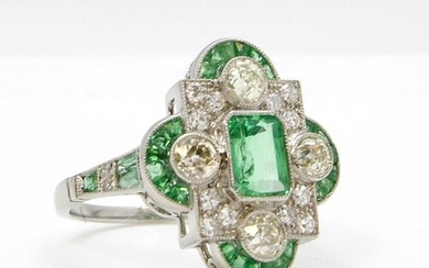 Art Deco-style platinum emerald and diamond cluster ring, th...