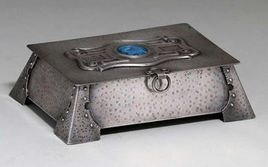 Arts & Crafts Hammered Copper Silver-Plated Box c1905