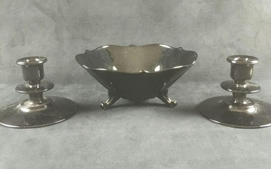 Black Glass 3 Footed Candy Dish and Two Candle Holders