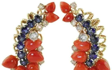 Blue Sapphires,Diamonds,Red Coral ,Rose White Gold