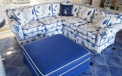 Blue and White Seashell, Coral, Lobster Upholstered Sectional Couch with Blue Piping by Vanguard