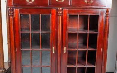 Bright Reddish Wood Armoire Cabinet W/Top Drawers
