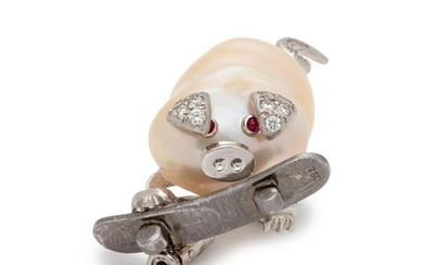 CULTURED BAROQUE PEARL, DIAMOND AND RUBY PIG BROOCH
