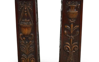 Carved Wood Pedestals With Secret Compartment
