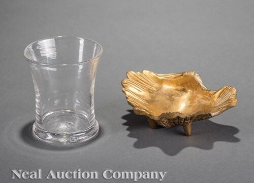 Cast Brass Dish and Blown Flint Glass Beaker