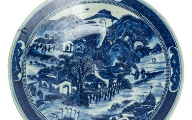 Chinese Antique 19th C Canton Porcelain Chop Plate