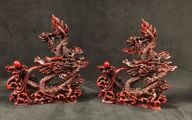 Chinese Art Red Dragons Feng Shui