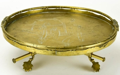 Chinese Etched Brass Tray