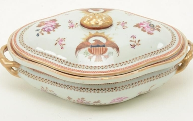 Chinese Export porcelain three-part covered vegetable