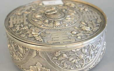 Chinese Export silver covered box, potpourri box, cover