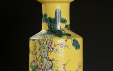 Chinese Yellow Ground Famille Rose Rouleau Vase