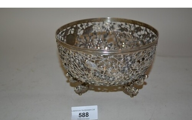 Chinese silver bowl of circular pierced design, decorated in...