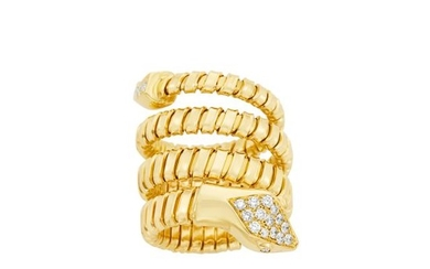 Coiled Gold and Diamond Snake Ring