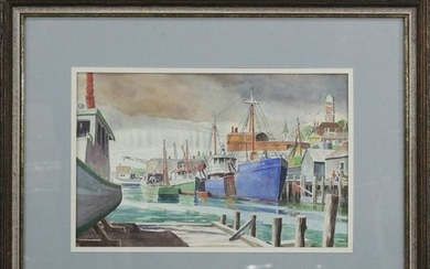 F W Spencer, Watercolor, Gloucester Harbor, Mass.