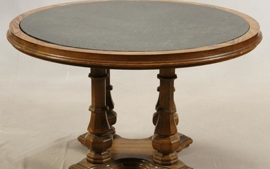 FOUR PILLAR WOOD, SLATE ROUND TABLE