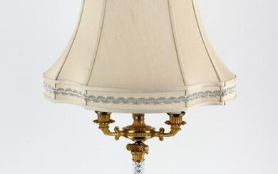 FRENCH EMPIRE STYLE GILT BRONZE CRYSTAL LAMP 1940