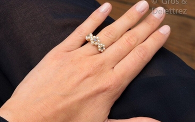 """Garter"""" ring in 14K yellow gold, pearls and..."""