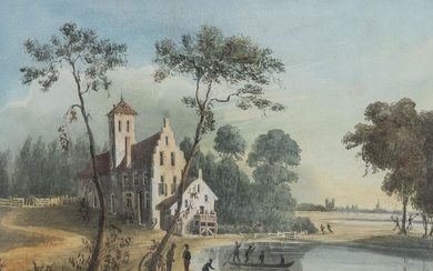 """Georges Heriot (circa 1759-1839) attr., """"The Ponds of E Herbach with Brussels in the distance""""."""