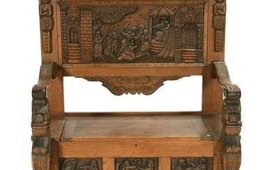 German Oak Storage Bench Carved with Biblical Scenes.