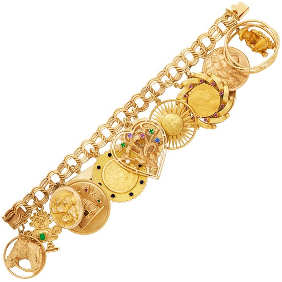 Gold, Gem-Set, Diamond and Enamel Charm Bracelet