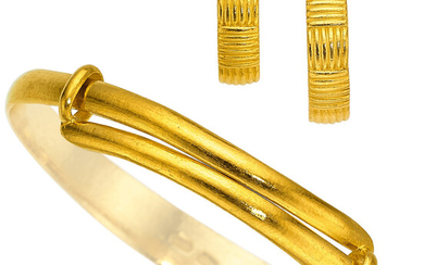 Gold Jewelry The 24k gold bangle and earrings weigh...