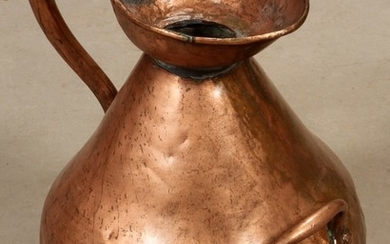 HAND HAMMERED COPPER GALLON HAYSTACK PITCHER 19TH CENTURY 18 DIA 15