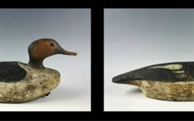 Hand Carved Red Breasted Merganser Decoys, (2pc)