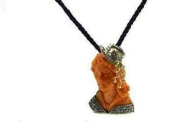 Handcrafted Pendant Engraved Face on Coral, Diamonds