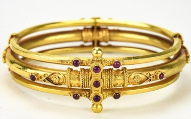 Indian 18-22k Gold Bracelet with Rubies