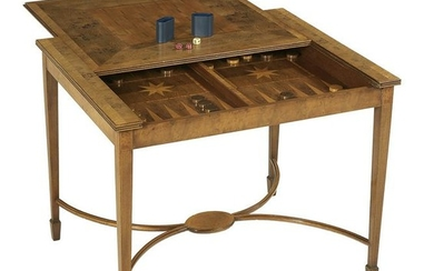 Interesting Exotic Mixed Woods Inlaid Games Table