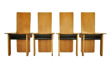 Italian set of 4 dining chairs by Carlo Scarpa for