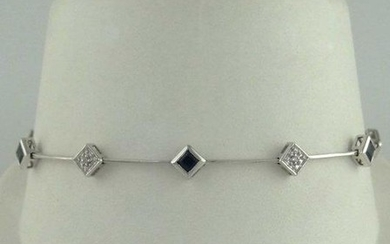 LADIES 10K WHITE GOLD PRINCESS CUT BLUE SAPPHIRE