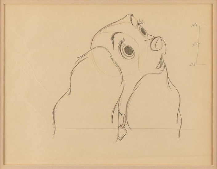 Lot Art Lady Production Drawing From Lady And The Tramp