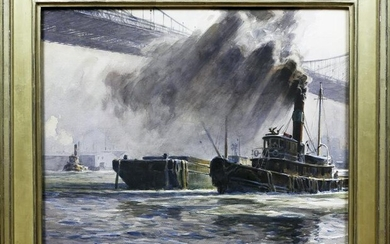 Lewis Watercolor of New York Harbor and the Manhattan