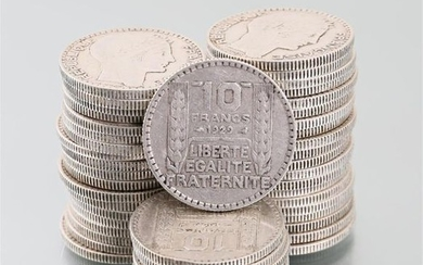 Lot of forty-nine silver coins 10 Francs 1929,...