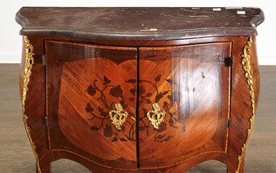 Louis XV marble top parquetry bombe commode