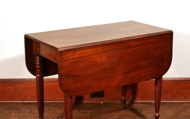 MAHOGANY DROP LEAF TABLE, NEW YORK