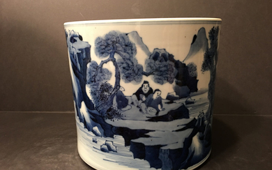 OLD Chinese Large Blue and White Brush Pot, 18th/19th century