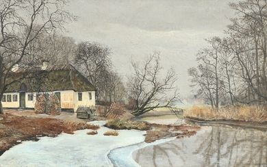 Ole Ring: Wintry landscape with thatched half-timbered house. Signed and dated Ole Ring 1931. Oil on canvas. 31×49 cm.