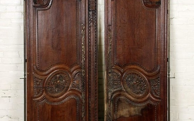 PAIR CARVED OAK 19TH CENTURY FRENCH DOORS