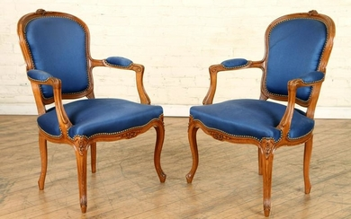 PAIR FRENCH LOUIS XV STYLE OPEN ARM CHAIRS C.1930