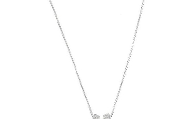 """PEARL DIAMOND WHITE GOLD NECKLACE""L38.5 cm, φ11.1 mm 11.1×19.1 mm, 6.3 g"