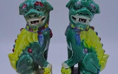 "PR. CHINESE CERAMIC FOO DOGS 8""H"