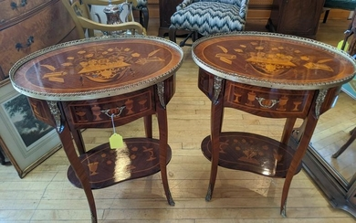 Pair Mid-Century Inlaid Marquetry Wood French Side