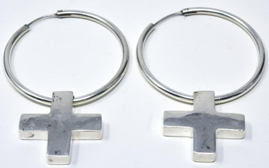 Pair Sterling Large Hoop Earrings W Cross Pendants