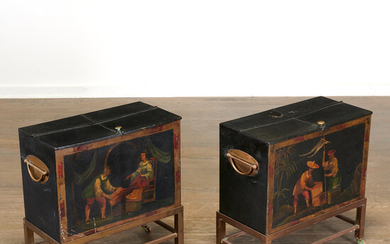 Pair antique English tole chinoiserie tea chests