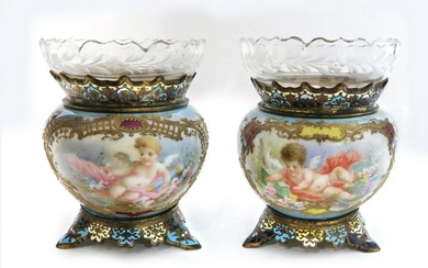 Pair of 19th C. French Champleve Enamel/Porcelain Vases