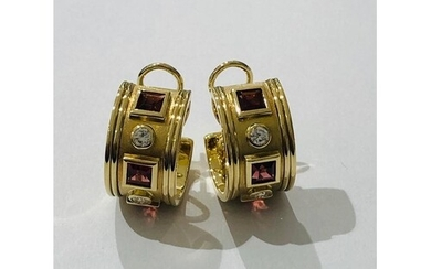 Pair of Charles Greig Earrings set in 18ct Gold with 4 Diamo...