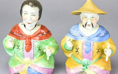 Pair of Chinese Male & Female Nodder Statues