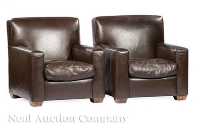 Pair of Contemporary Leather Club Chairs